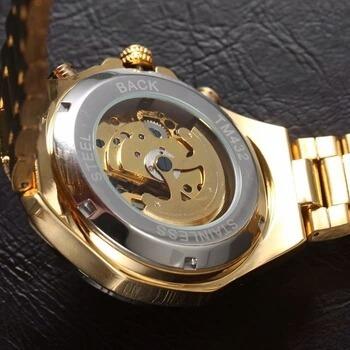 relógio masculino skeleton winner mecanico automático de aço