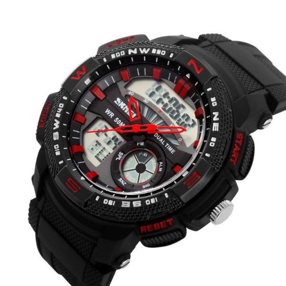 57ad0bf473c relógio masculino skmei 1109 anadigi preto e vermelho com nf. Carregando  zoom.