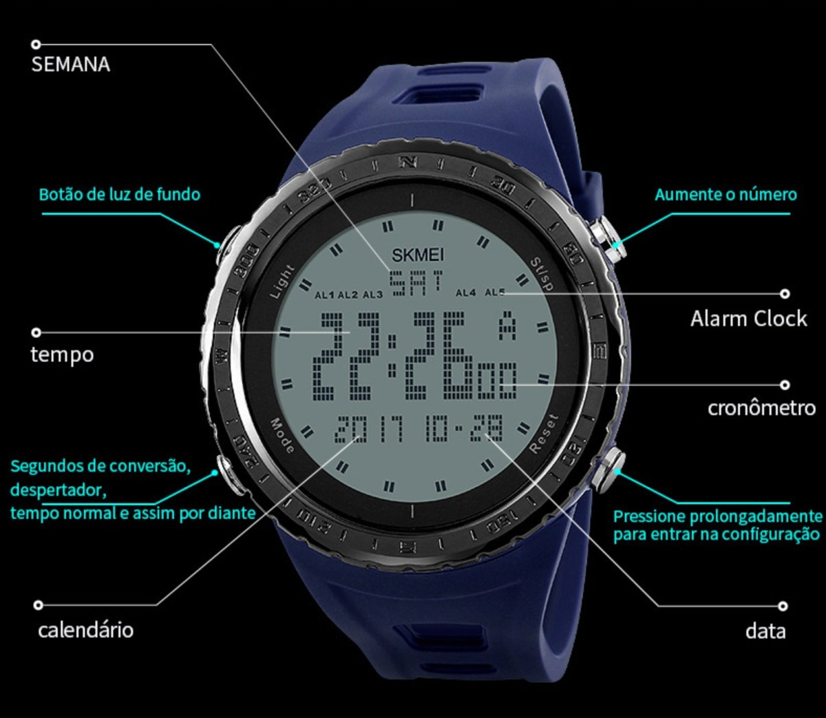 29f4597fd0d relógio masculino skmei 1246 digital esportivo preto. Carregando zoom.