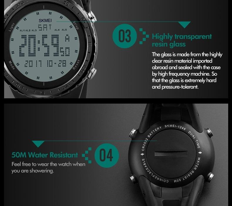 04355824a2e Relógio Masculino Skmei 1246 Digital Esportivo Prova D´água - R  52 ...