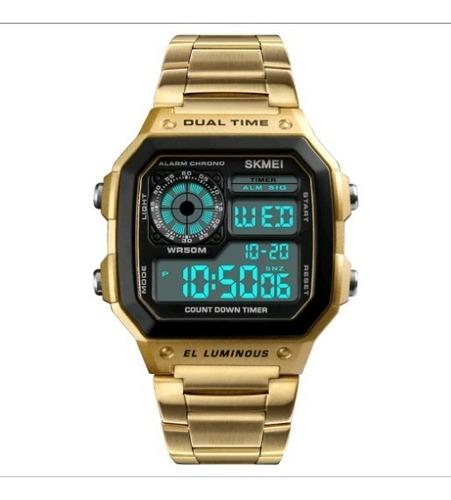 relógio masculino skmei 1335 original pulseira em aço retro