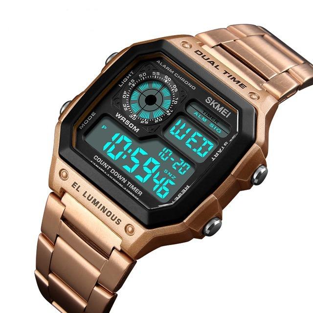 3dd93087ce3 Relógio Masculino Skmei 1335 Retro Digital Original Rose - R  125
