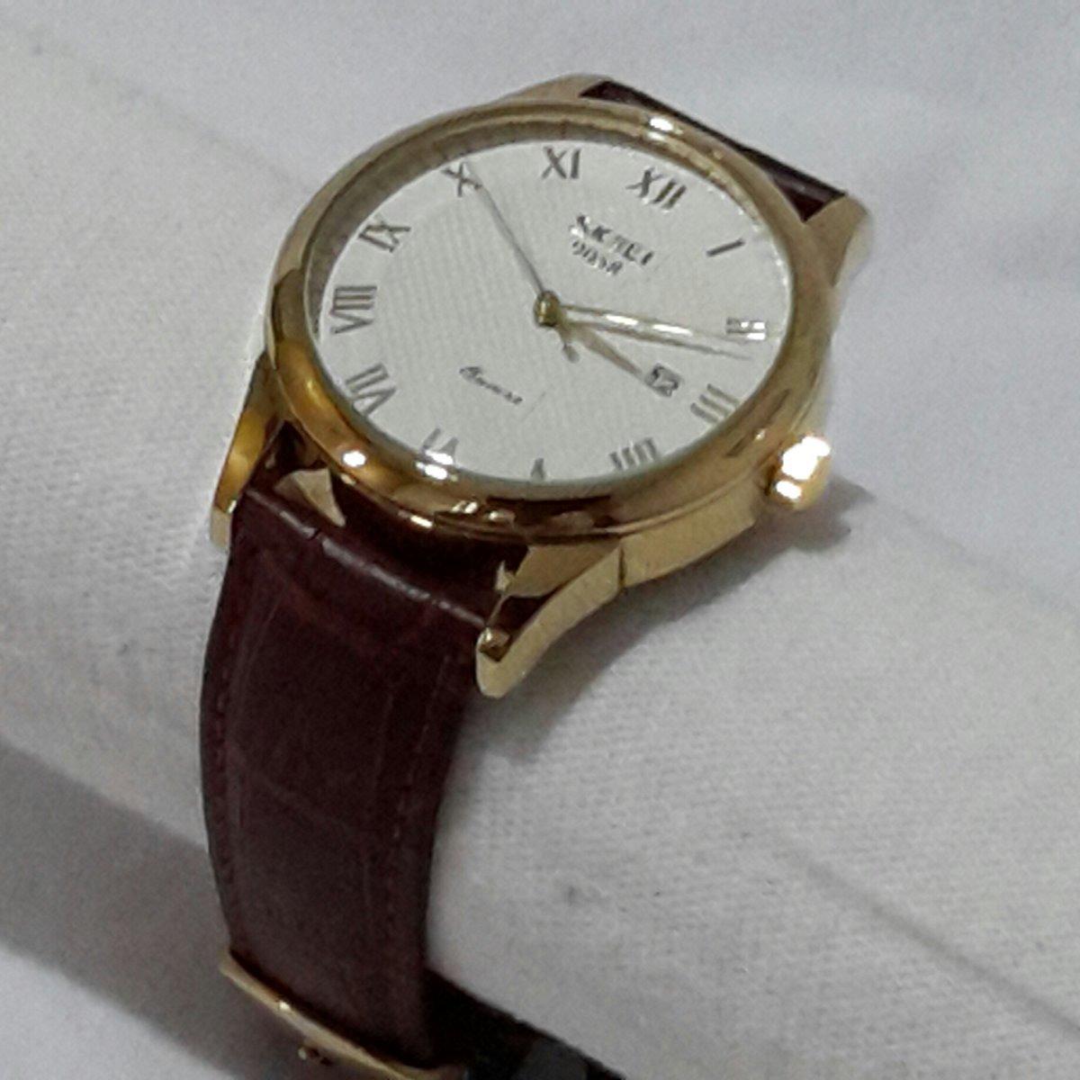 5d2ee9eca8d relógio masculino skmei 9058 analógico original couro. Carregando zoom.