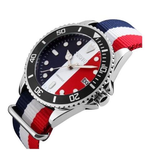 relógio masculino skmei 9133 analógico branco com nf