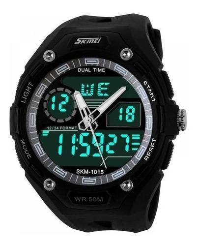 relógio masculino skmei anadigi 1015 preto e cinza