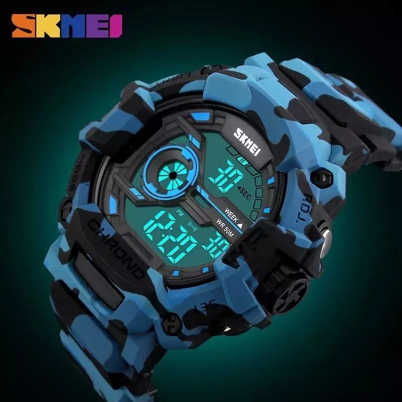c23c794b94f Relógio Masculino Skmei Anadigi 1233 Azul Camuflado - R  49