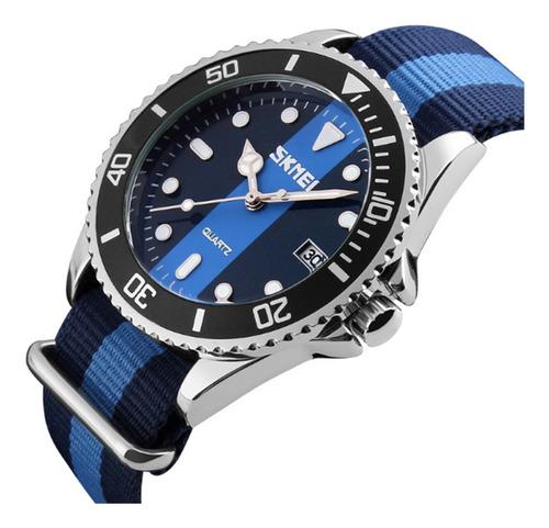 relógio masculino skmei analógico 9133 azul