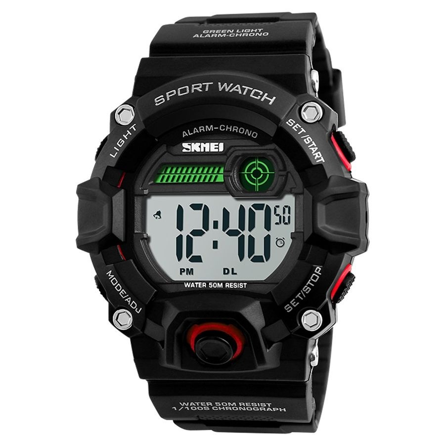 658d7379f2f relógio masculino skmei digital 1242 - preto e vermelho. Carregando zoom.