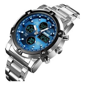 Relogio Masculino Skmei Dual Time Prata C/ Azul Frete Gratis