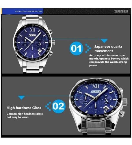 relógio masculino skmei prata 100% funcional prova d água