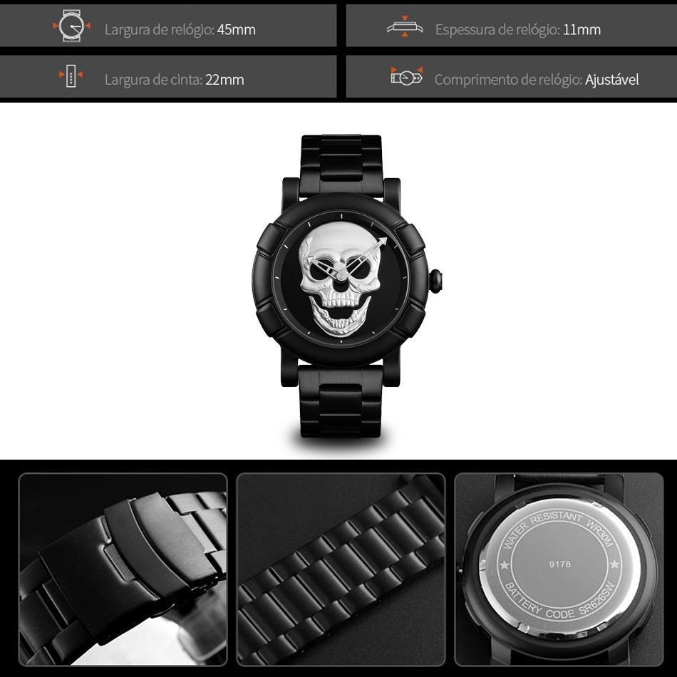 efb06983f0c relógio masculino skmei skull crânio 3d caveira original. Carregando zoom.