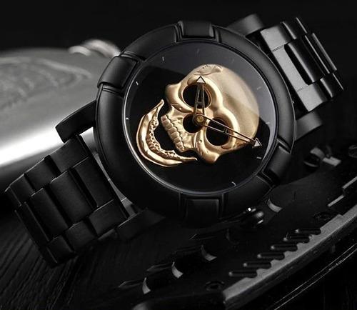 relógio masculino skull caveira crânio 3d black original