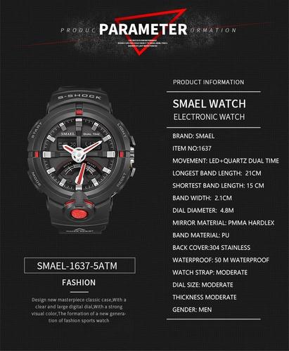 relógio masculino smael 1637 preto com vermelho frete grátis