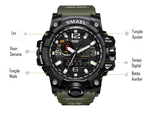 relógio masculino smael esportivo militar a prova d'água