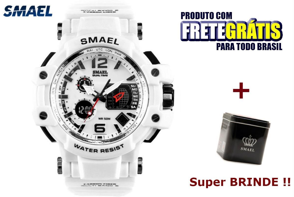 0e9fa0b6c43 Relogio Masculino Smael S-shock Original Branco Prova D agua - R  129