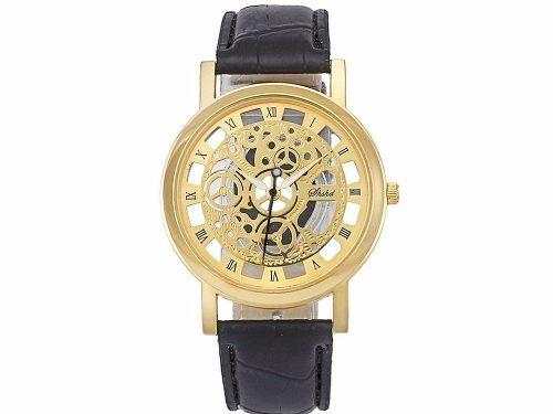 447708b4143 Relógio Masculino Social De Couro Transparente Dourado - R  59
