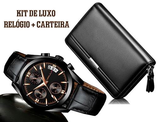 relógio masculino social de luxo c/ carteira de couro preta
