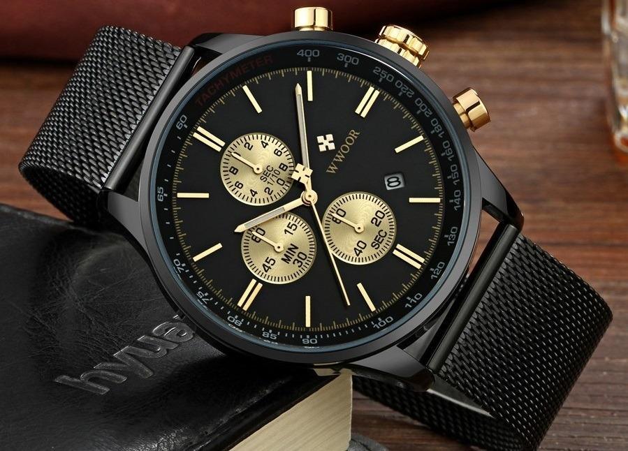 6e4c27e0d18 relógio masculino social fino luxo wwoor pulseira aço inox! Carregando zoom.