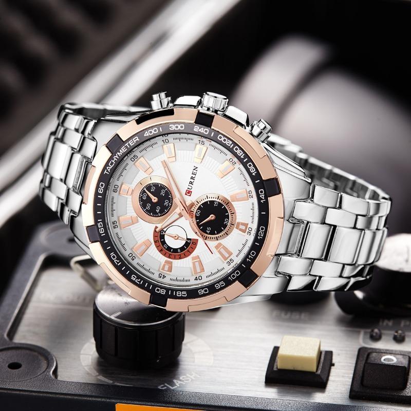 e67d1892f05 relógio masculino social luxo aço inox top curren 8023. Carregando zoom.