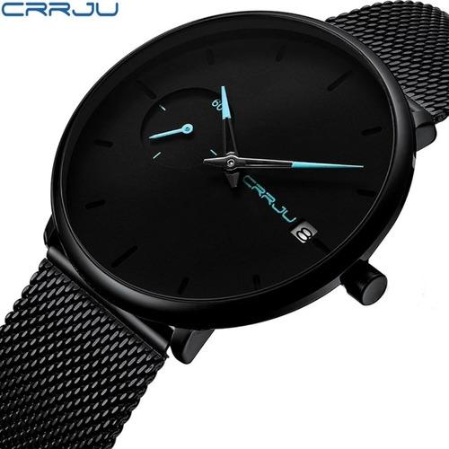relógio masculino social luxo crrju 2258 pulseira aço inox!