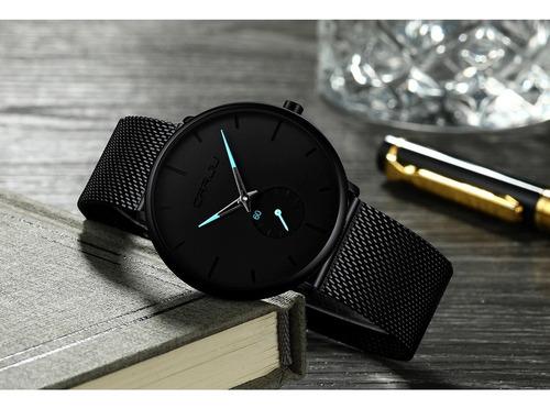 relógio masculino social ultra fino luxo pulseira aço inox