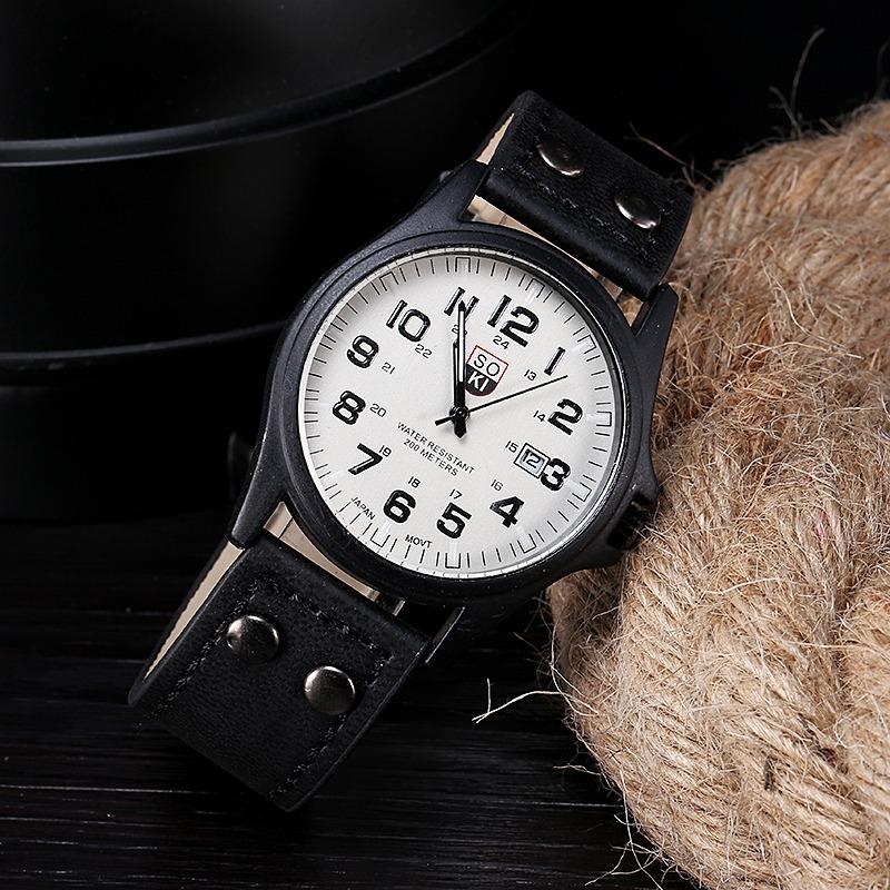 54ca9a9444f relógio masculino soki couro marrom preto fundo preto branco. Carregando  zoom.