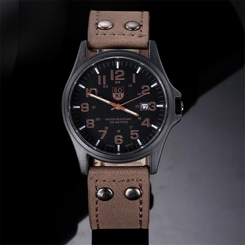 61c17224bd2 relógio masculino soki militar pulseira de couro social luxo. Carregando  zoom.