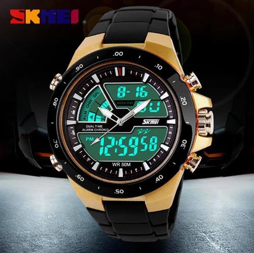relógio masculino sport digital wr50m dourado skmei 1016