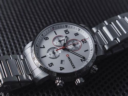 relógio masculino suíço wenger linha atitude chrono aço inox