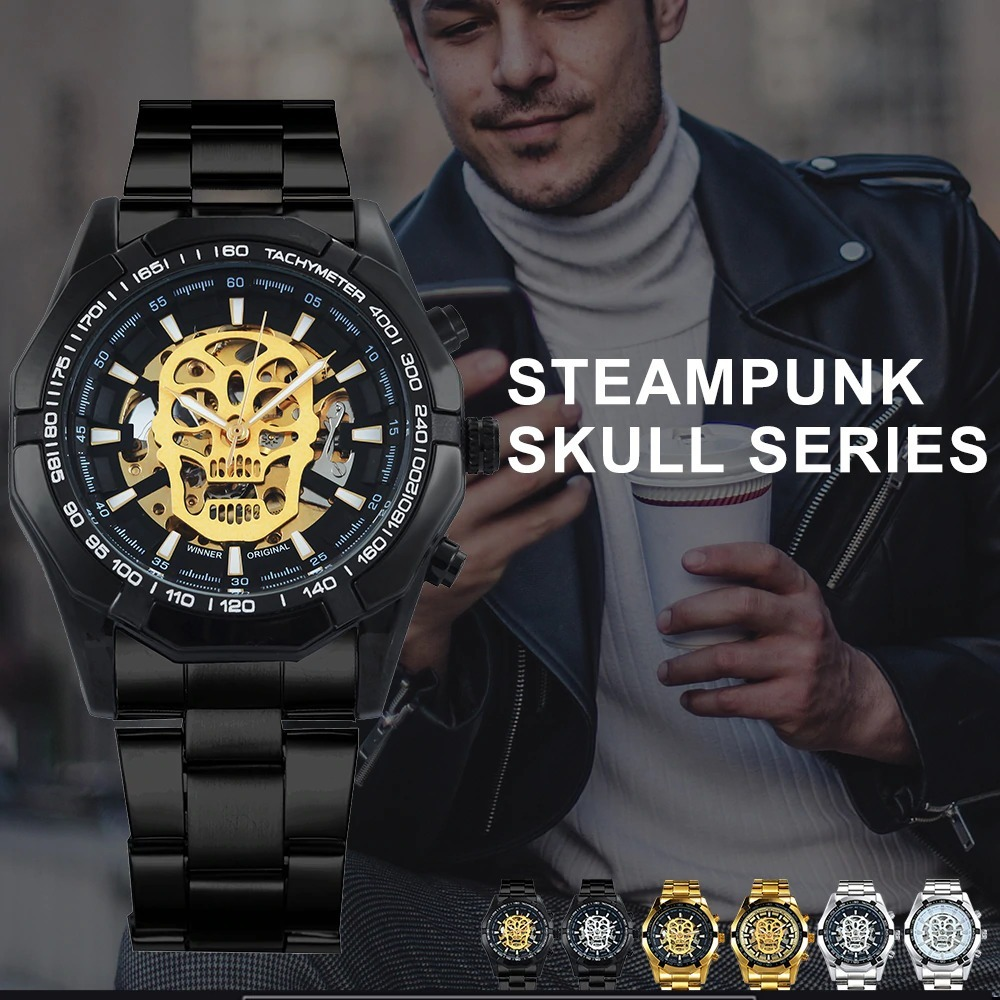 1dc4d442b25 relógio masculino t-winner mecânico caveira esqueleto crânio. Carregando  zoom.