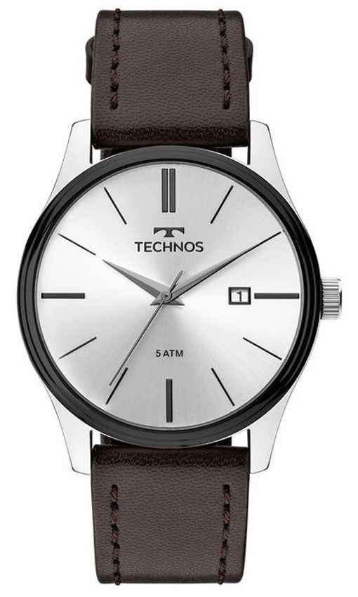 1ff82b3ca05 relógio masculino technos 2115mpp1 pulseira de couro marrom. Carregando  zoom.