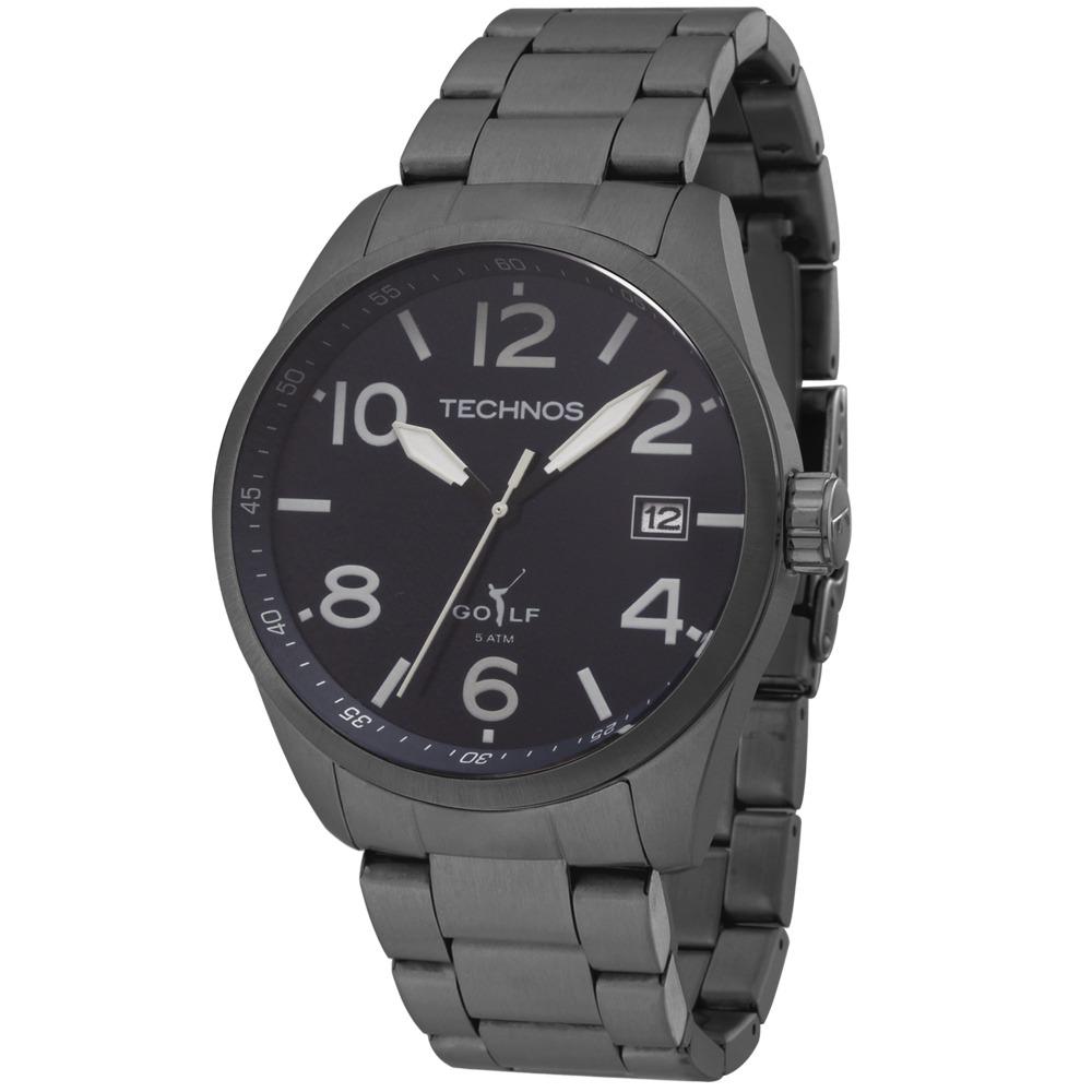 2adf0ab1a2f Relógio Masculino Technos Golf 2415cb 1c 47mm Preto - R  483