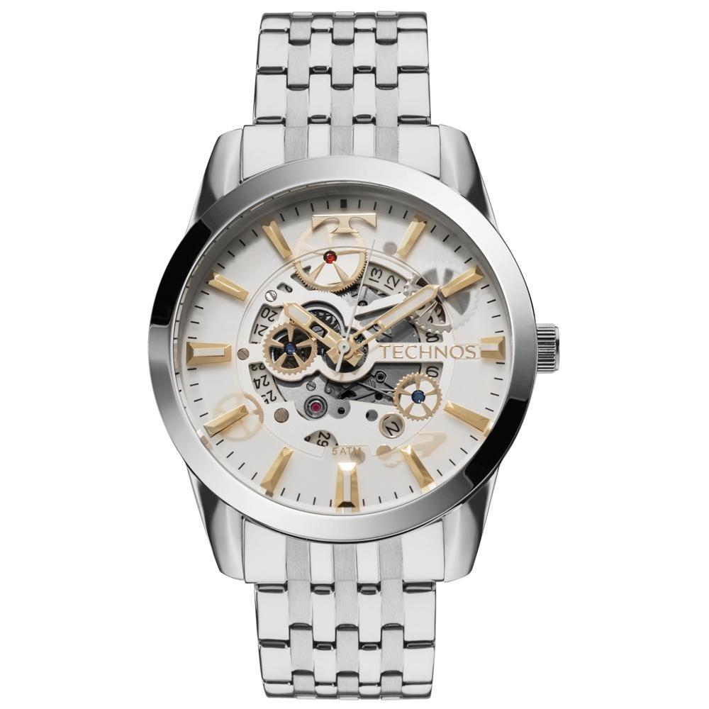 9476f964ae8a3 Relógio Masculino Technos Automático 8205nr 1k 46mm Prata - R  471 ...