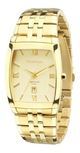relógio masculino technos casual 1n12mp/4x dourado original