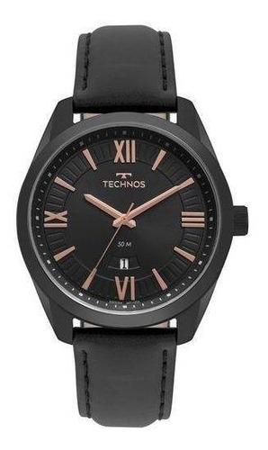 relógio masculino technos classic steel couro preto