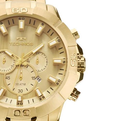 relógio masculino technos dourado js26ae/4x