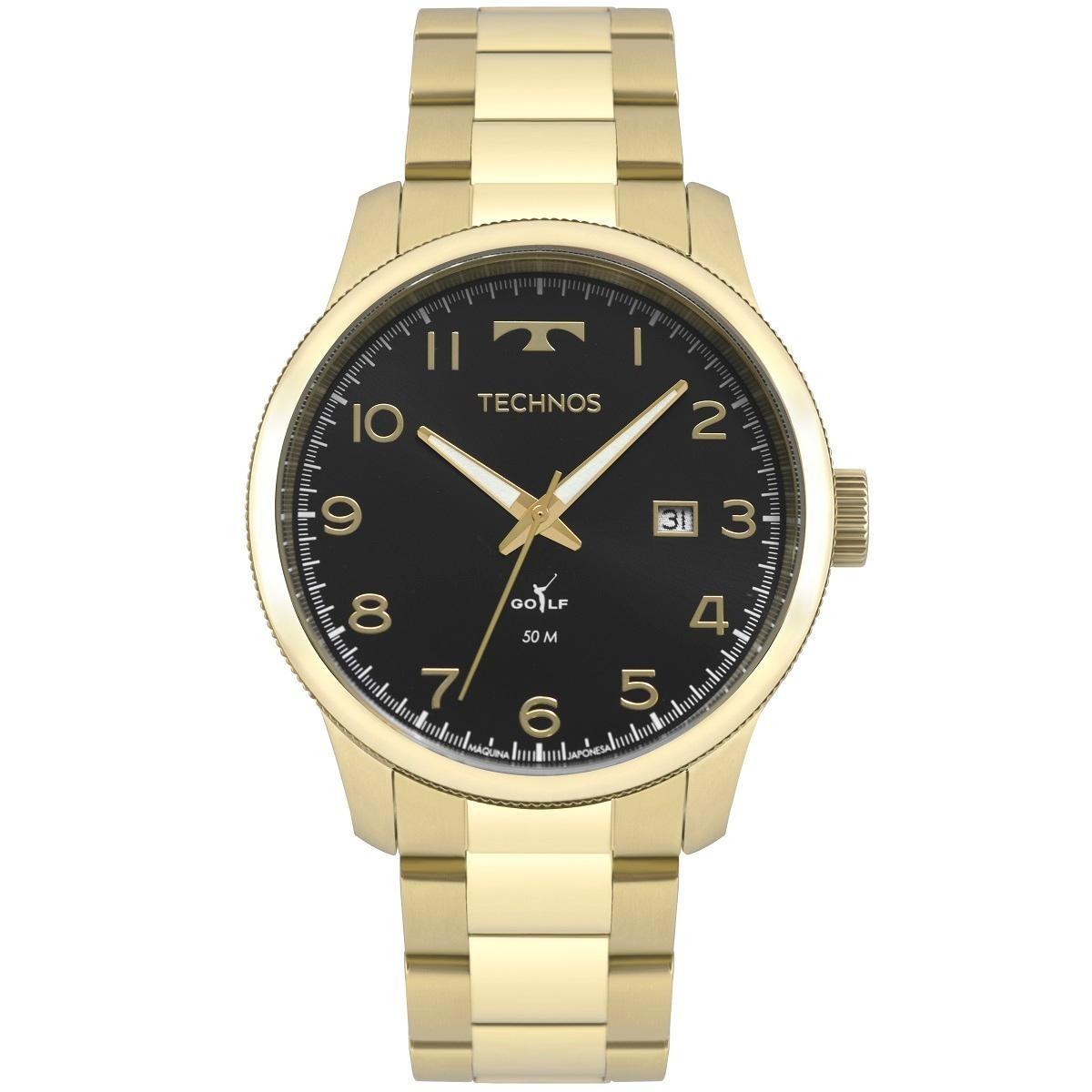dfd09eaf4edd6 Relógio Masculino Technos Golf 2315laf 4p 44mm Aço Dourado - R  302 ...