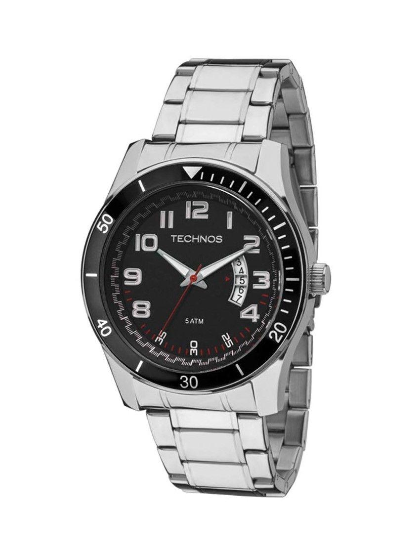 0b57cc681c55c relógio masculino technos original 2115ksl pulseira aço inox. Carregando  zoom.
