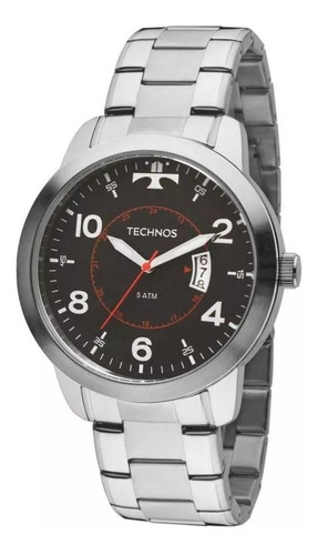 relógio masculino technos prata com garantia e nf2115ktm/1p