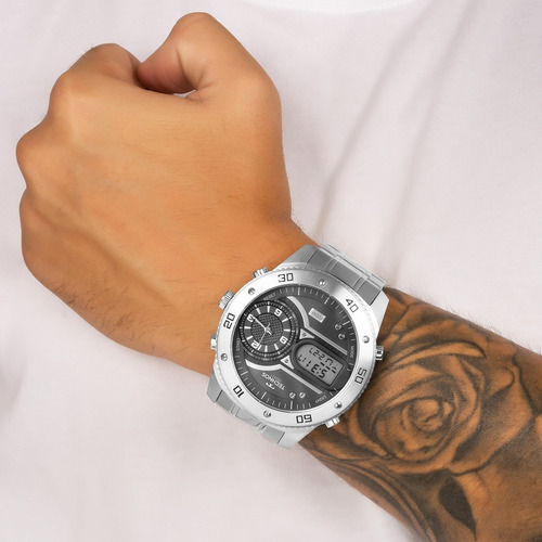 relógio masculino technos prata legacy anadigi 2039cc/4p