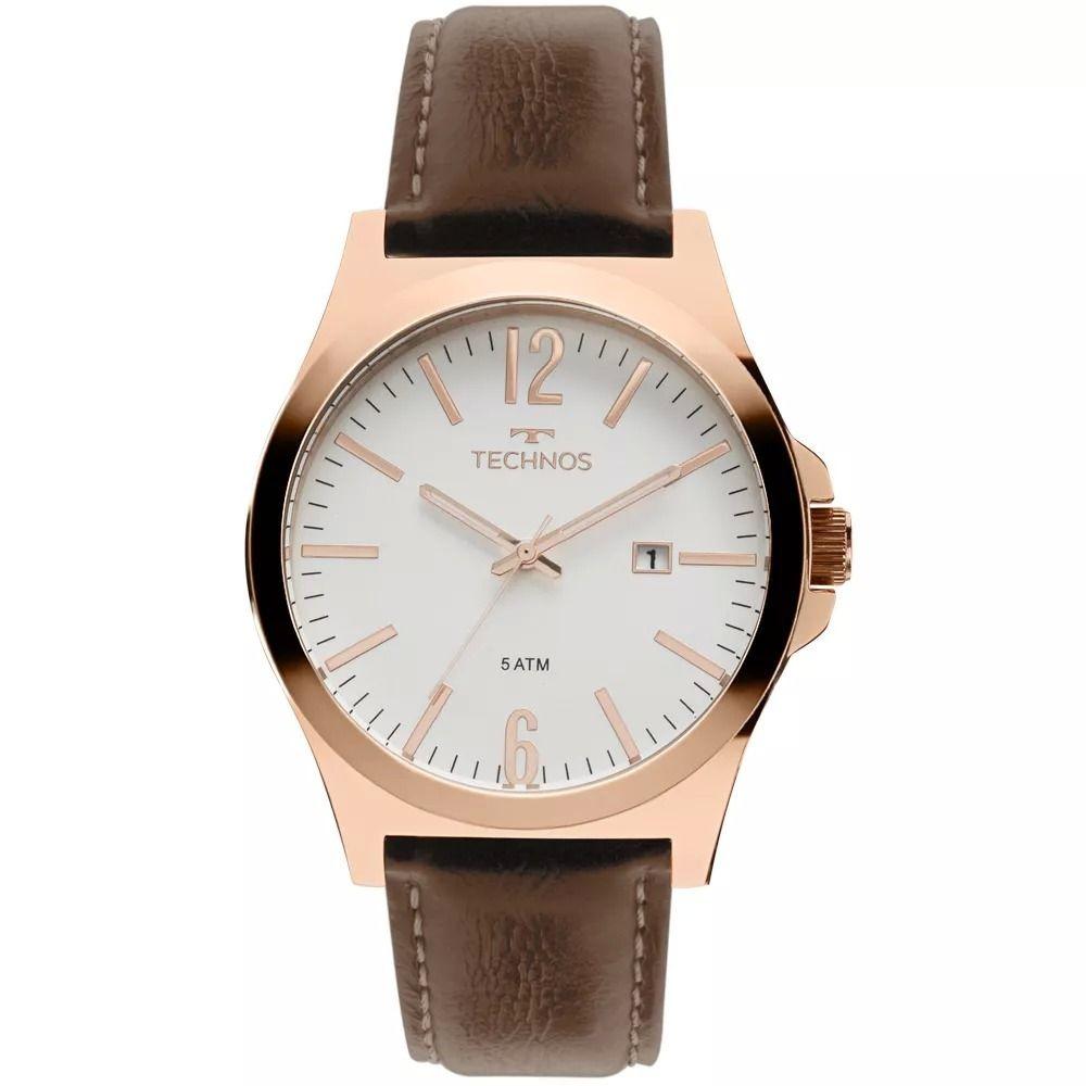 33f2bc841cf relógio masculino technos pulseira marrom de couro e dourado. Carregando  zoom.