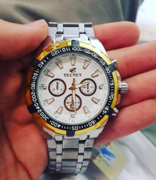 f1a96ba6518 Relógio Masculino Tecnet A Prova D água Novo Prata E Dourado - R  59 ...