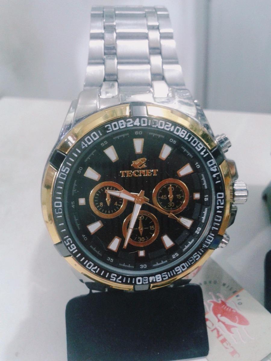 fa4417865c7 relógio masculino tecnet a prova d água novo prata e dourado. Carregando  zoom.