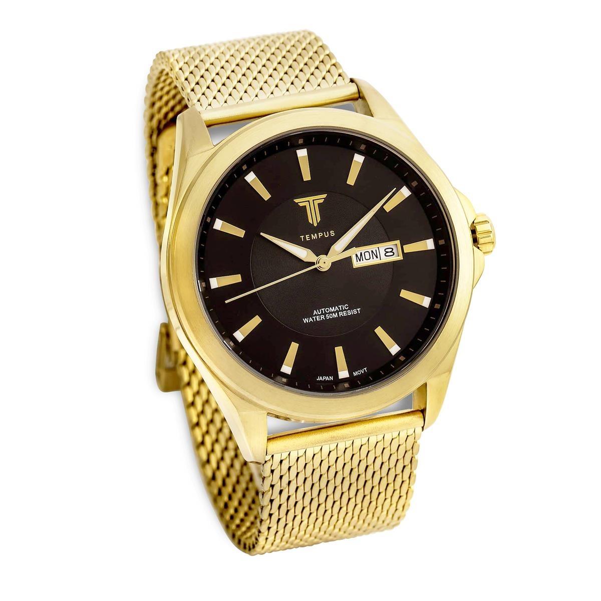 2d8ccd0776f relógio masculino tempus zw20127u gold black. Carregando zoom.