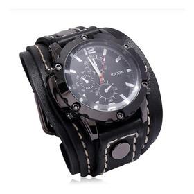 Relógio Masculino Tipo Bracelete Largo Retrô Couro Mod. W28