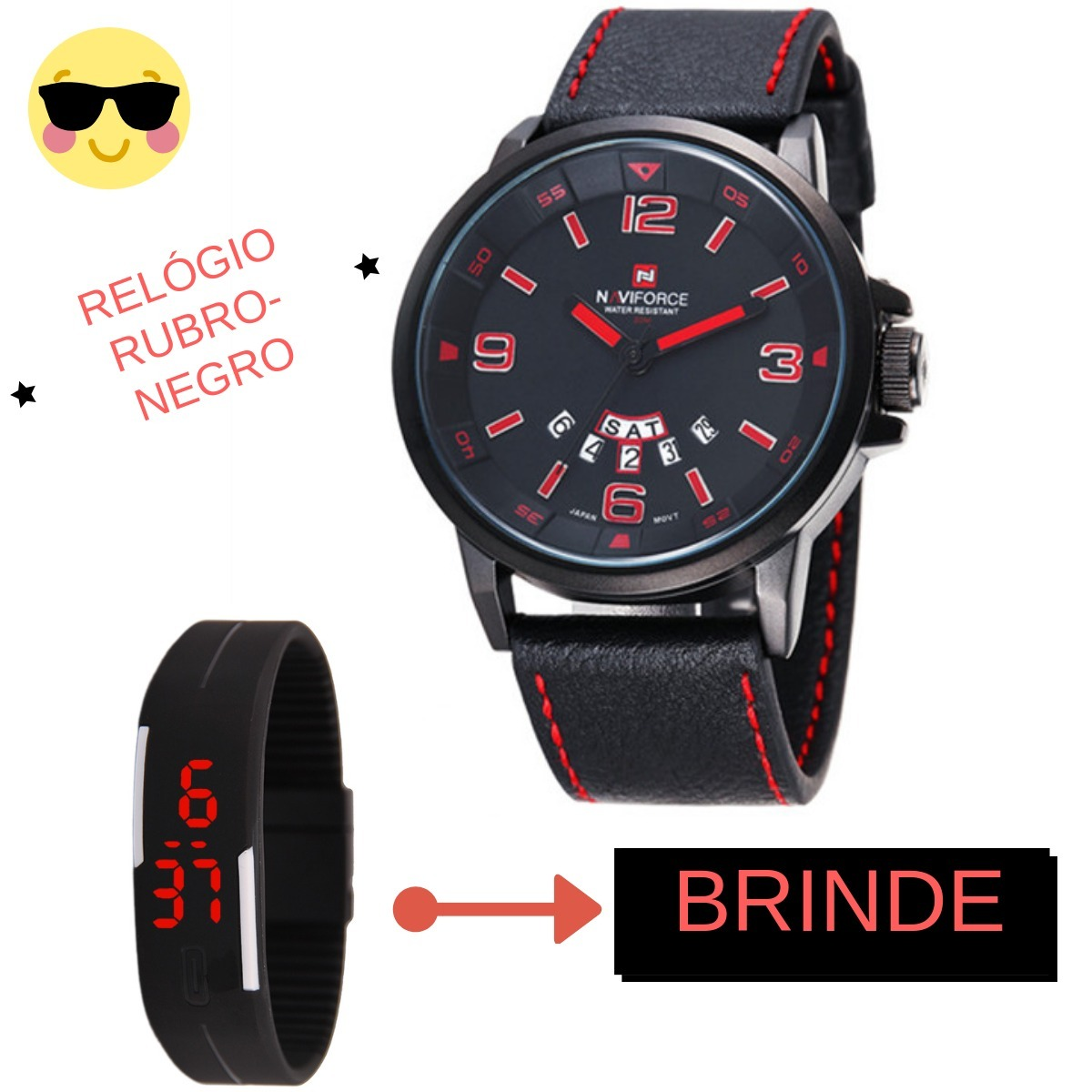 85607b864b8 Relógio Masculino Torcedor Rubro Negro + Brinde - R  48