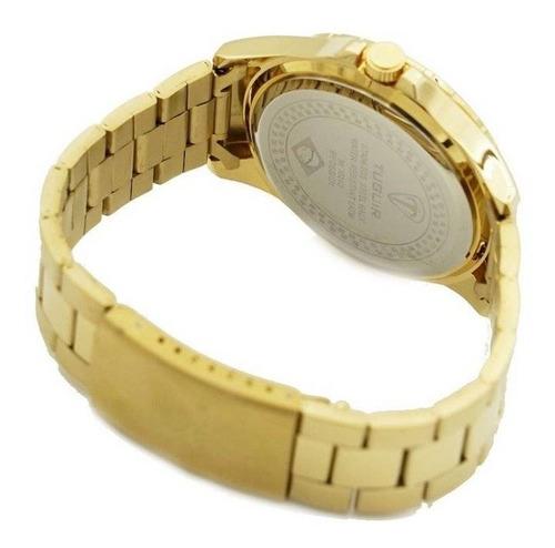 relógio masculino tuguir analógico 5346g dourado e azul