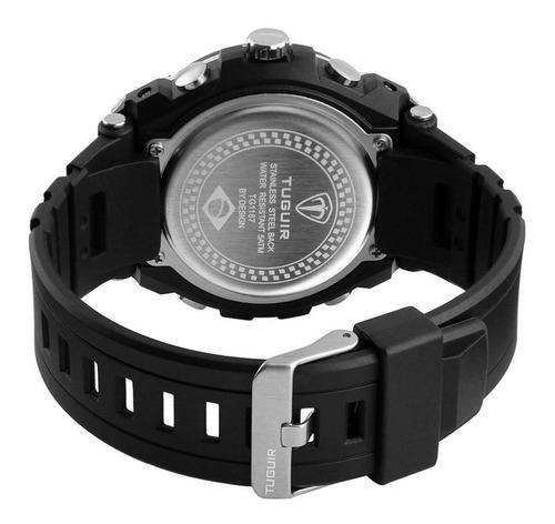 relógio masculino tuguir tg1187 anadigi preto e prata com nf