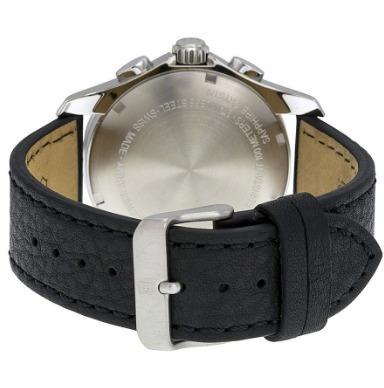 relógio masculino victorinox swiss army chrono preto/couro