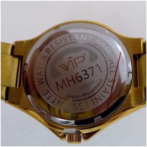 relógio masculino vip mh6371 dourado banhado a ouro original
